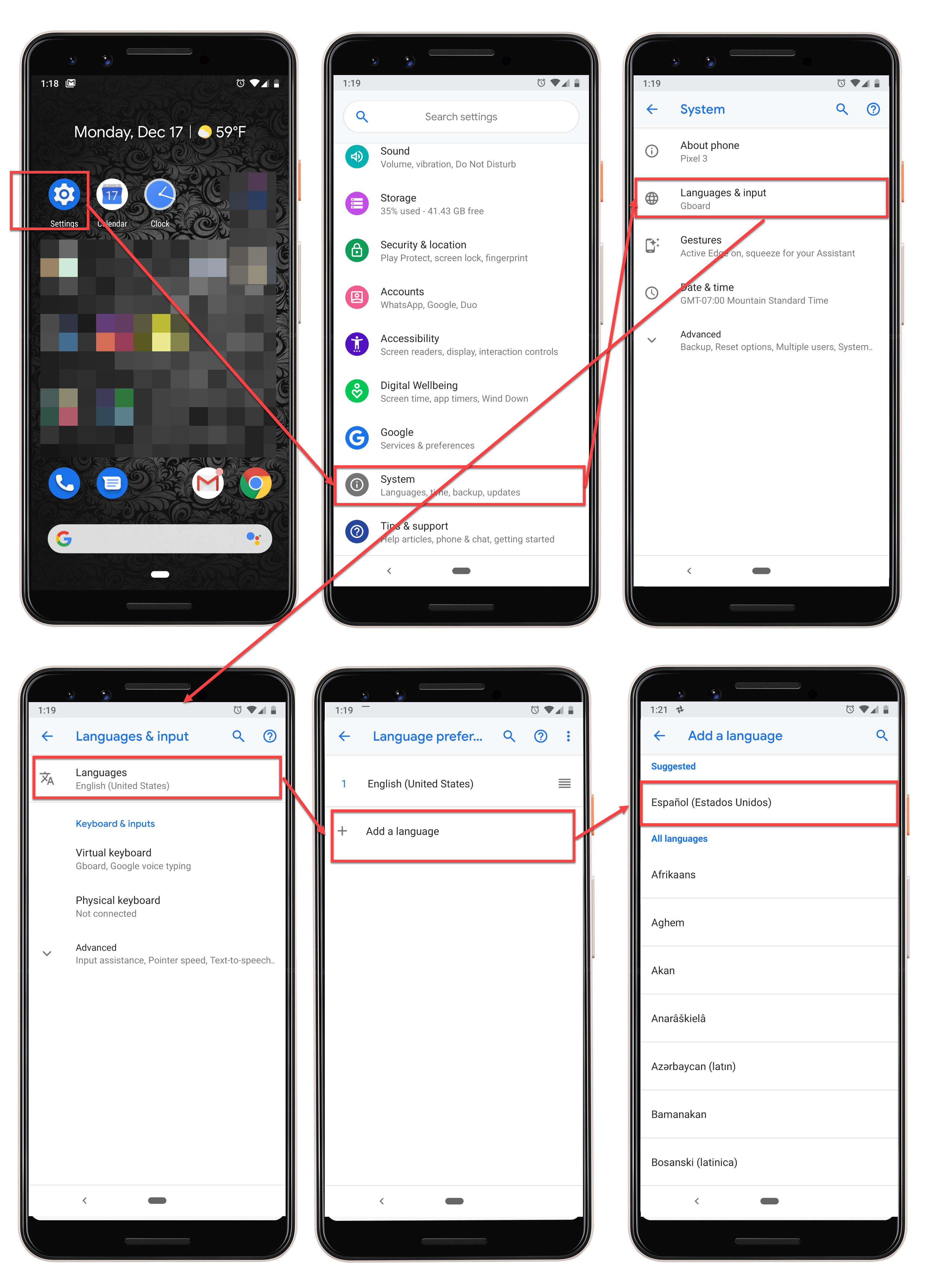 Phone Language Settings on Android
