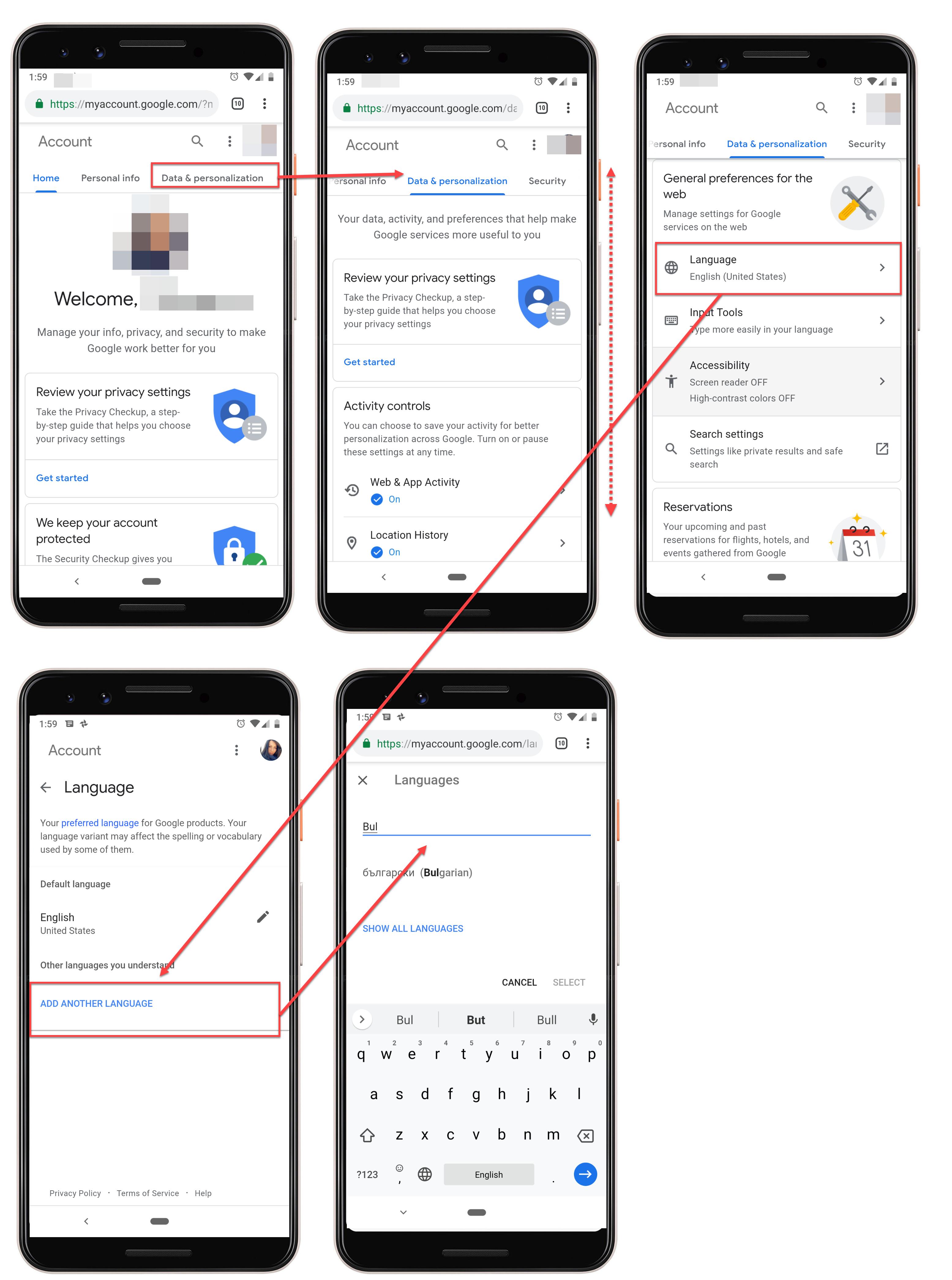 Google Cloud Language Settings on Android