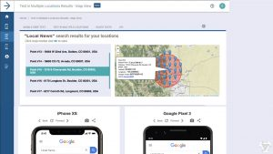 The MobileMoxie Service Area Tool Shows Real Mobile Search Results Tested at different Intervals of distance away from the center.