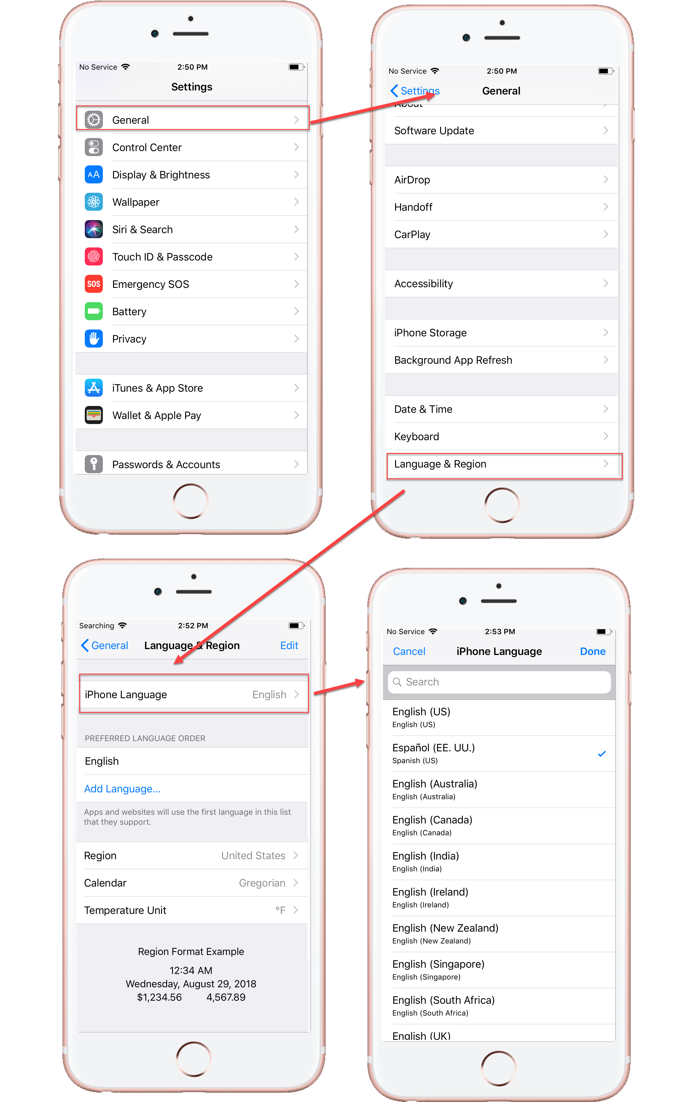 Phone Language Settings on iOS