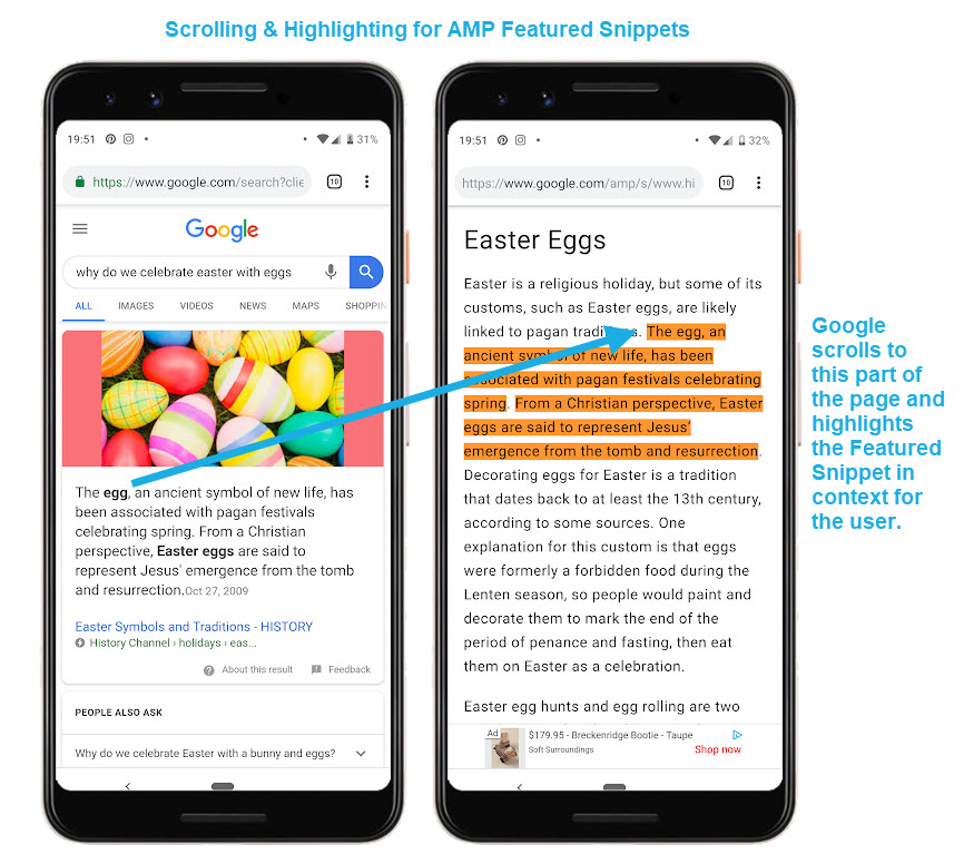AMP Featured Snippets Scroll Directly to the Content - Just Like Fraggles