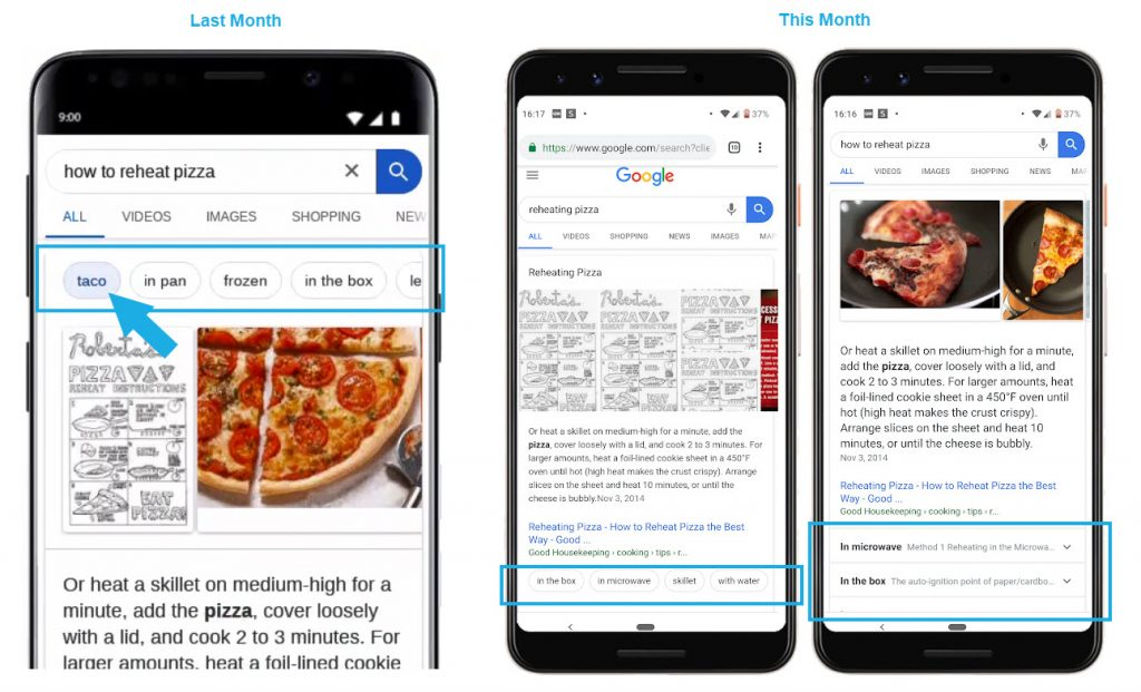 Answer or Featured Snippet Carousels Link from One Knowledge Graph Entry to Another