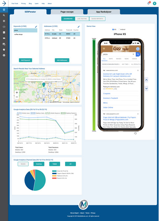 MobileMoxie Paid SERPerator- Subscription Tool with Google Analytics & Search Console Data with Mobile SERP Checker