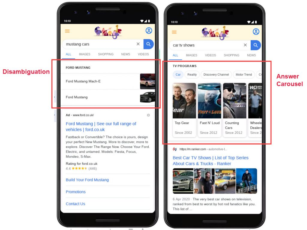 Google Disambiguation and Answer Carousels