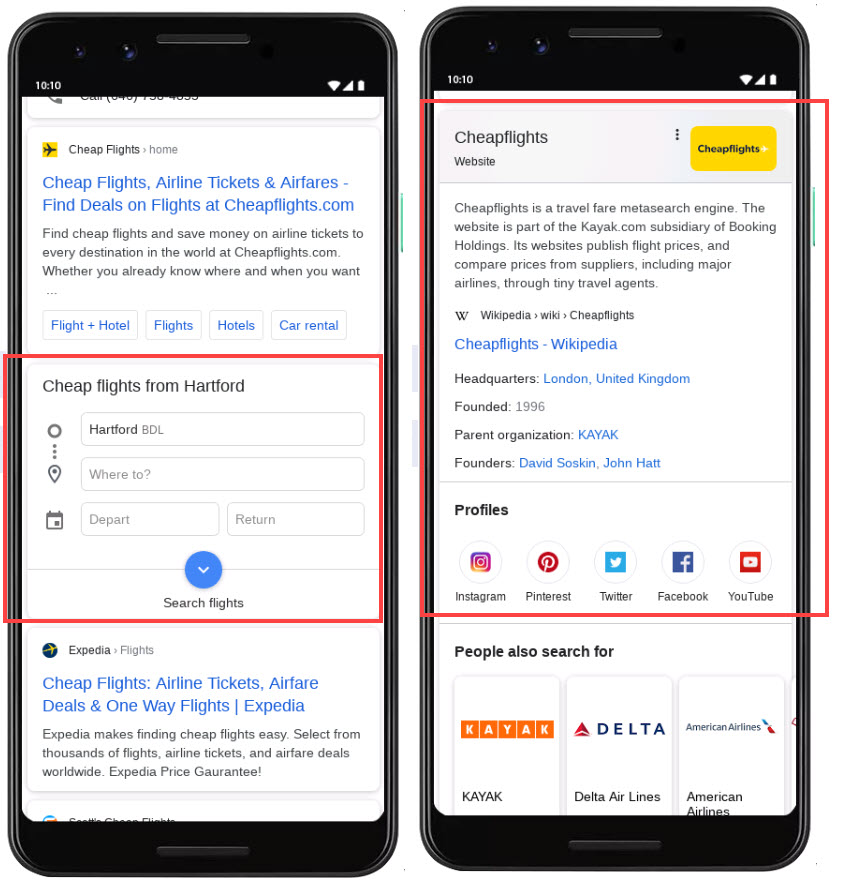 SEO For Flights - Search Results
