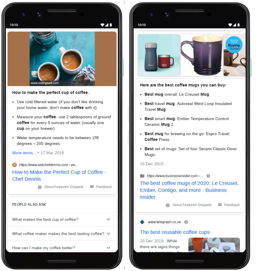 Coffee Featured Snippet in the SERPerator