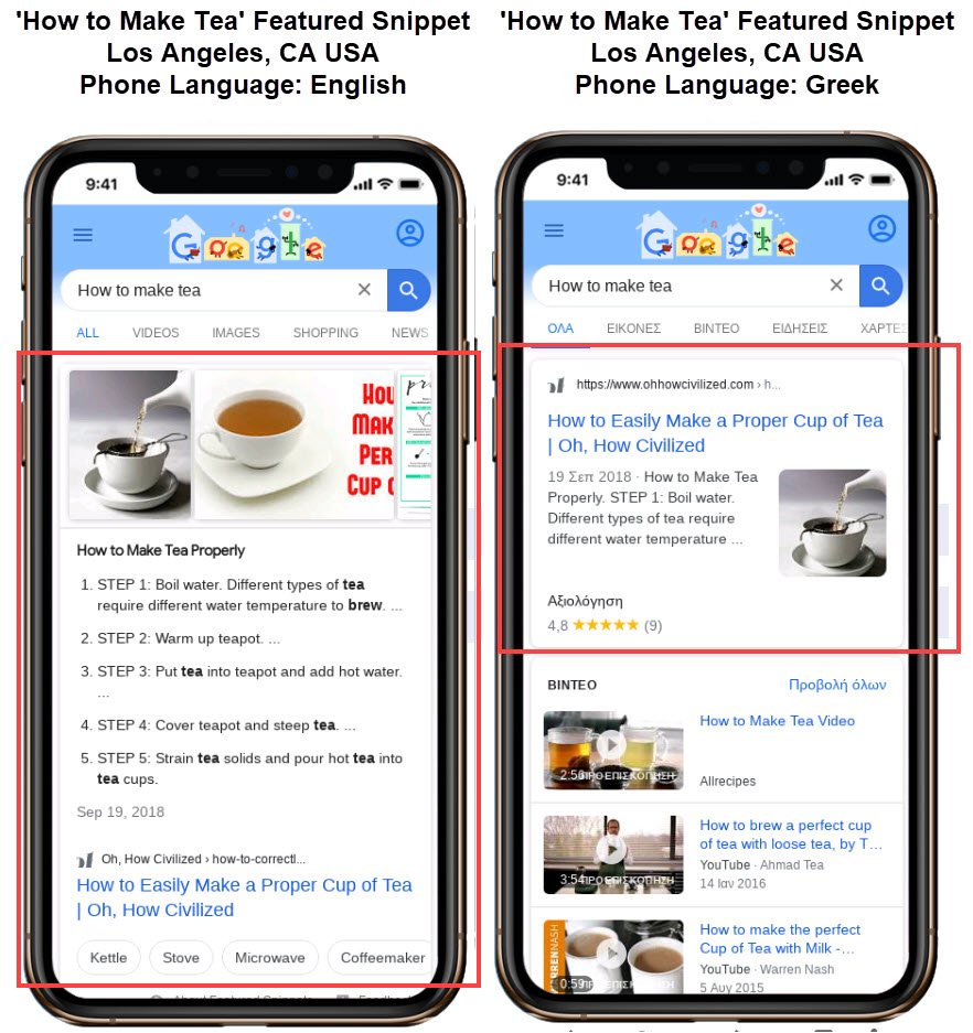 Featured Snippets Change by Phone Language