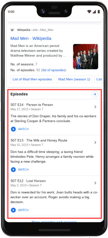 TV Episodes in Search Results