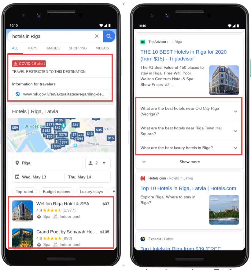 Mobile Hotel Search Results
