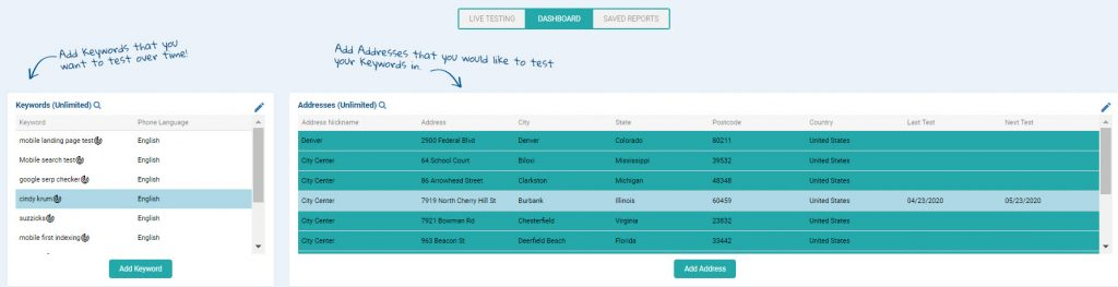 Test one keyword from multiple locations