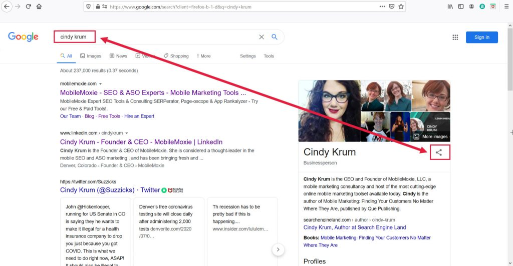 Cindy Krum - Knowledge Graph Share Link