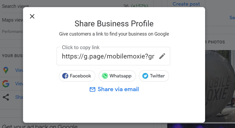 GMB Profile Share Link Modal - Google My Business
