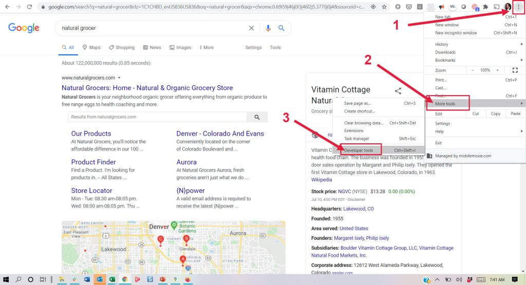 Open Chrome DEV Tools from a SERP