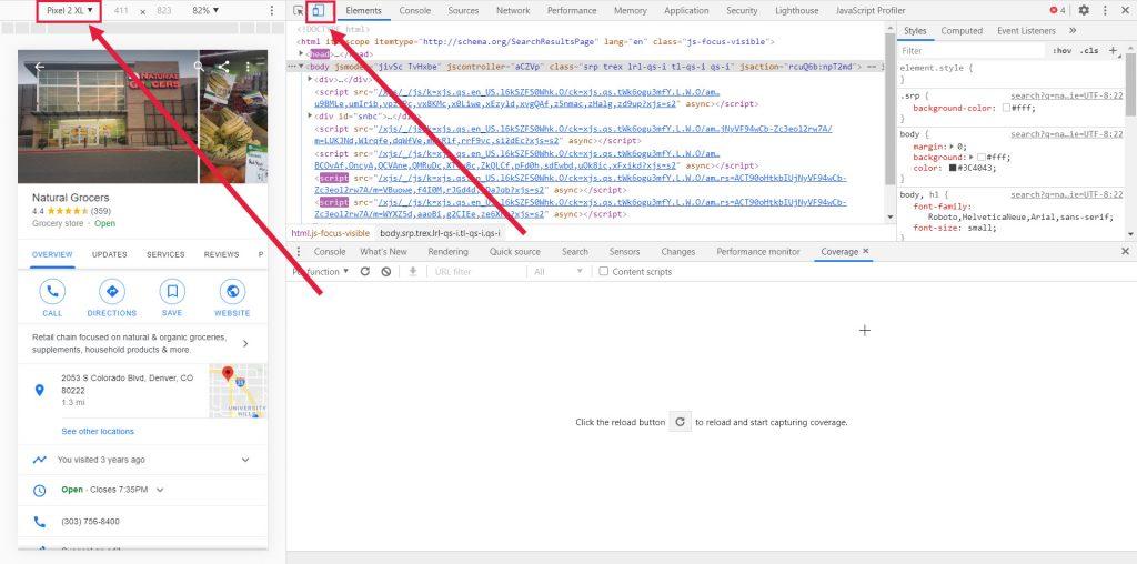 Mobile Chrome DEV Tools for GMB