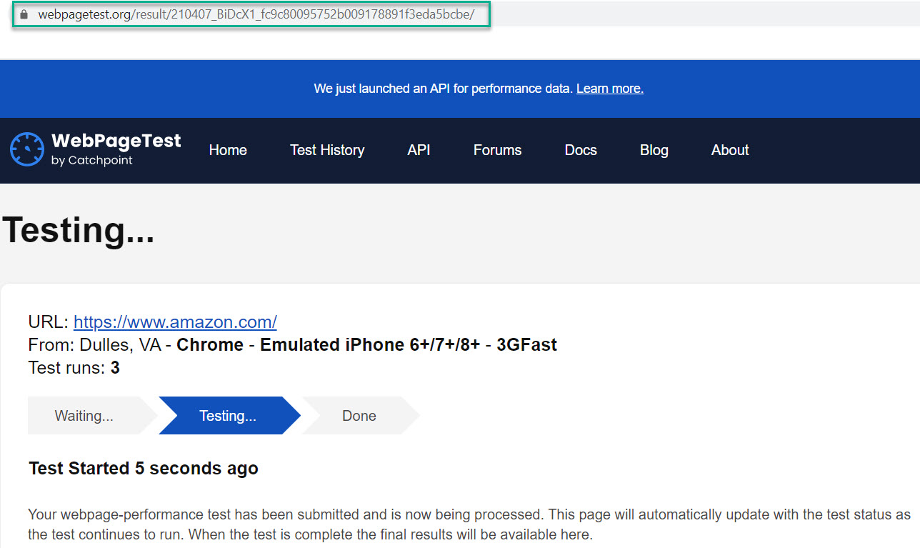 WebPage Test URL